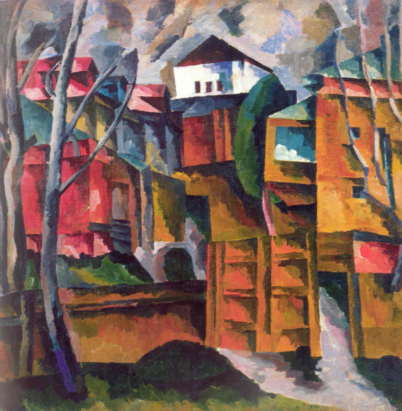 Aristarkh Vasilyevich Lentulov. Landscape with a white house and yellow gate