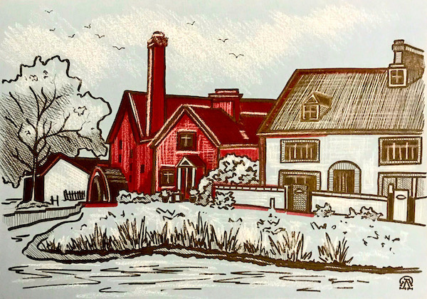 Larissa Lukaneva. Houses by the river. Sketch.