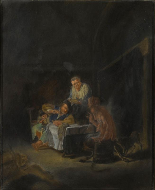 Эрцгерцог Рудольф Австрийский (фон Габсбург). Сцена в интерьере с крестьянской семьёй и сатиром за столом