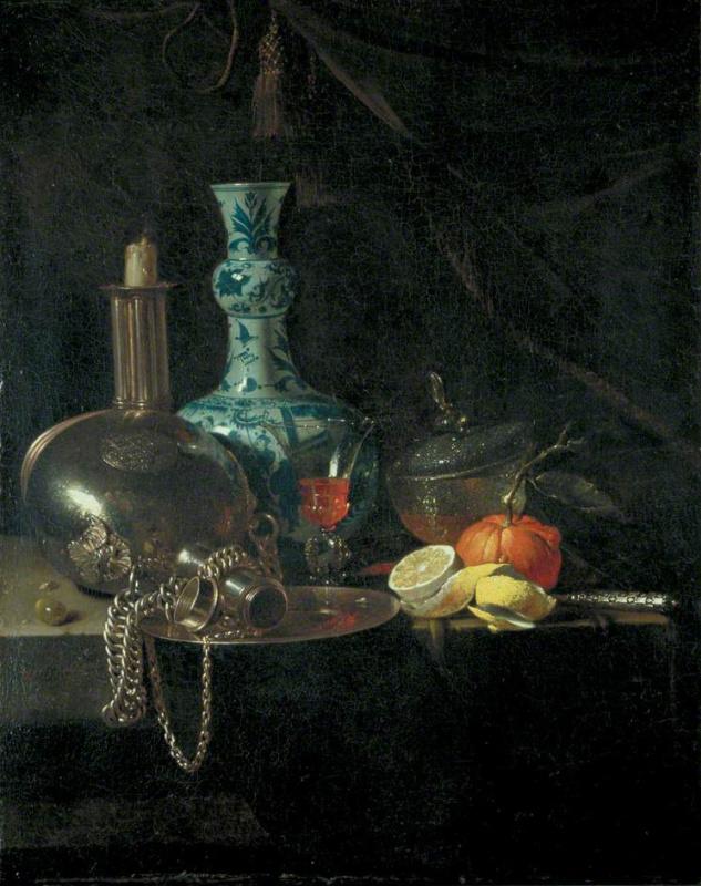 Виллем Кальф. Натюрморт с паломнической флягой, подсвечником, фарфоровой вазой и фруктами