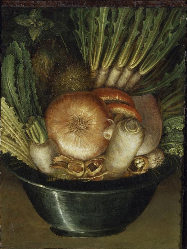 Джузеппе Арчимбольдо. Натюрморт с луком и овощами (Огородник)