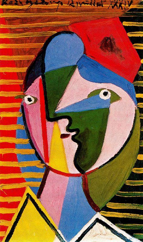 Пабло Пикассо. Лицо женщины на полосатом фоне