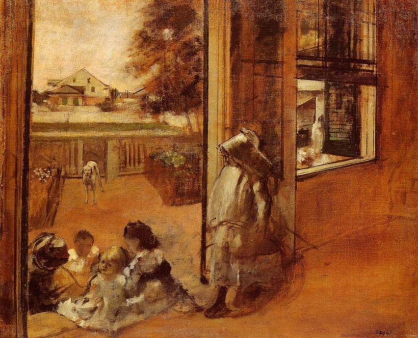 Edgar Degas. Children on the threshold of the house in New Orleans