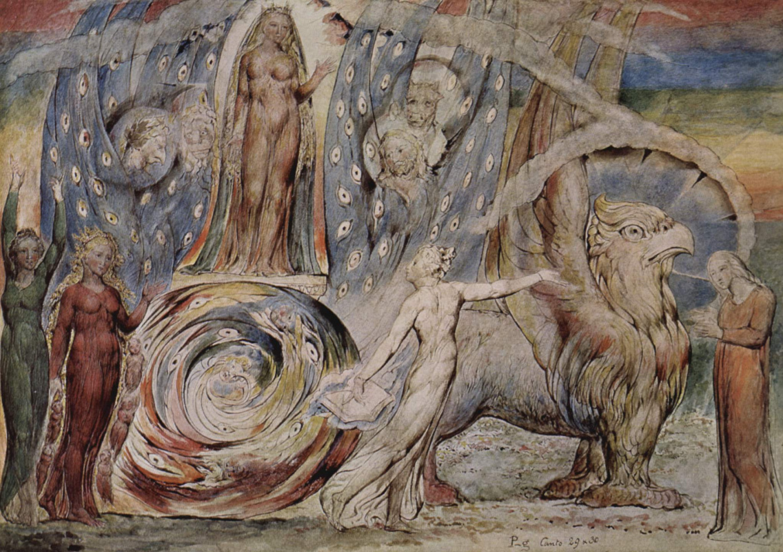 """William Blake. Beatrice talks to Dante from his car. Illustrations for """"the divine Comedy"""""""
