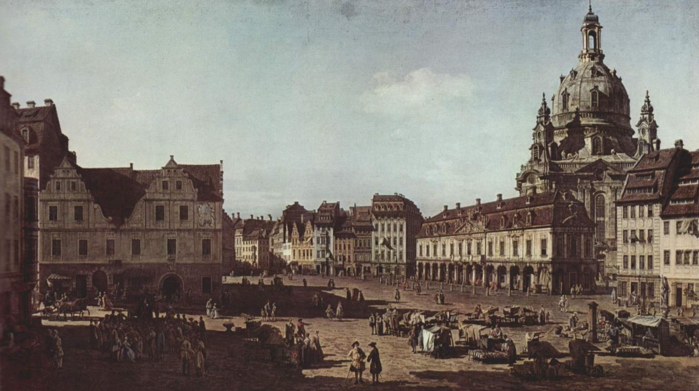 Джованни Антонио Каналь (Каналетто). Вид Дрездена, новый рынок со стороны Моритцштрассе
