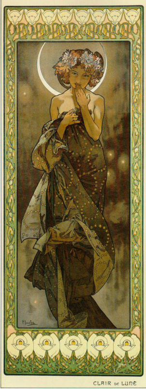 """Alfons Mucha. Moon. From the series """"Moon and stars"""""""