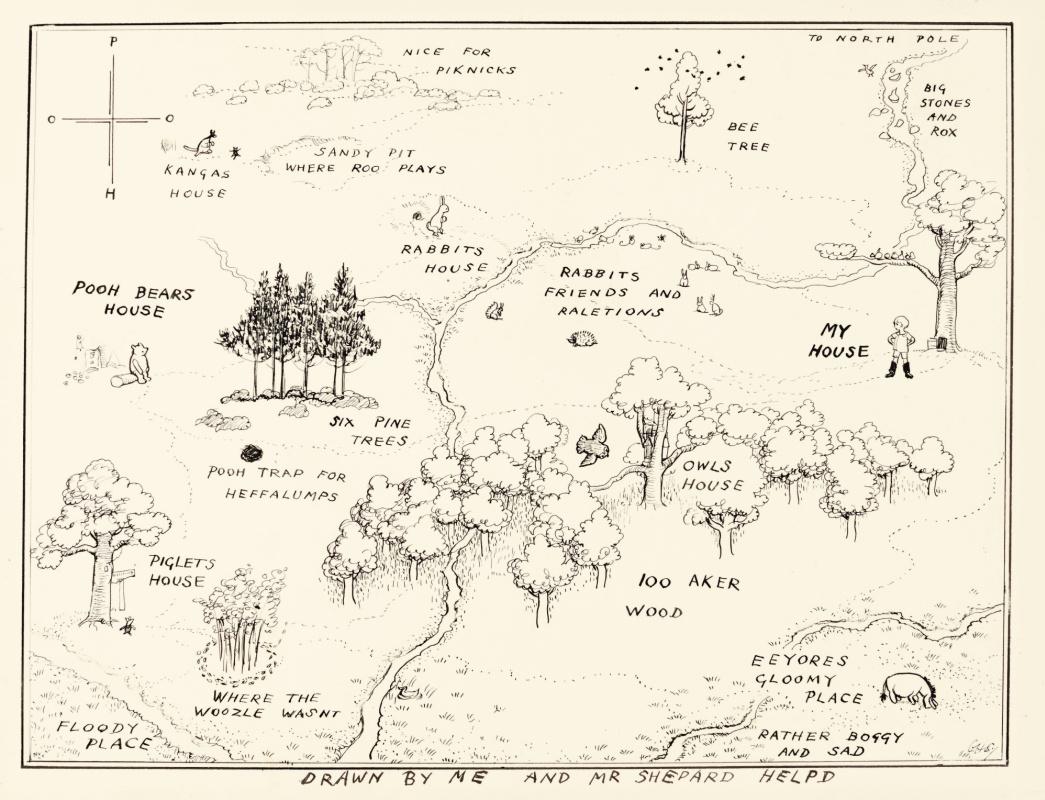 Эрнест Шепард. Настоящая карта Стоакрового Леса. Иллюстрация к книге «Винни-Пух» А. А. Милна