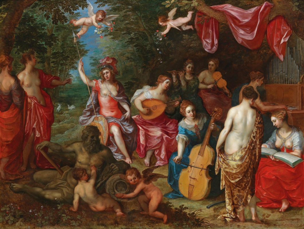 Jan Bruegel The Elder. Minerva visits nine muses. (in collaboration with Hendrik van Balen St)