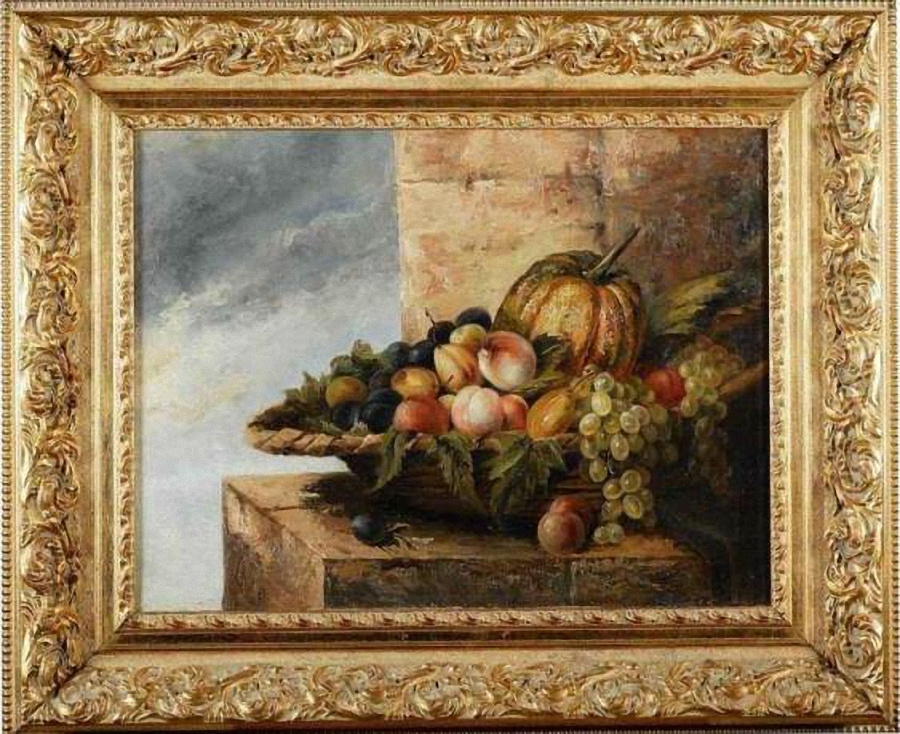 Fedor Petrovich Chumakov. Still life with fruit in a wicker basket 1880-1890 – е