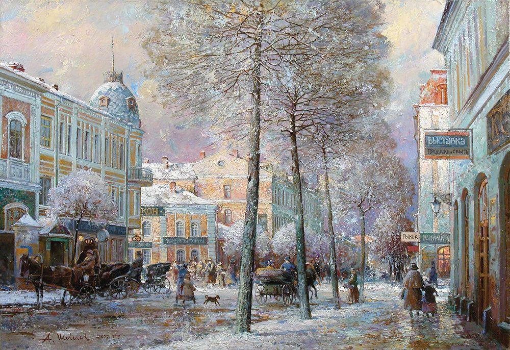Alexander Shevelyov. Rybinsk winter. Oil on canvas 37.5 x 54 cm 2002