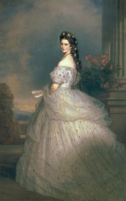 Franz Xaver Winterhalter. Elizabeth of Bavaria, Empress of Austria, wife of Emperor Franz Joseph, in a formal dress with diamond stars