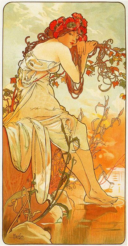 "Alphonse Mucha. Summer. From the series ""the seasons"""