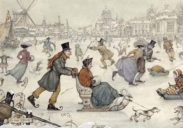 Anton Pieck. Winter skating on ice