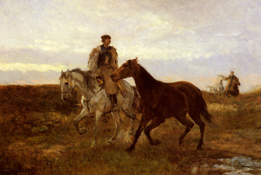 Mihály Munkácsy. The return home. Riders at sunset