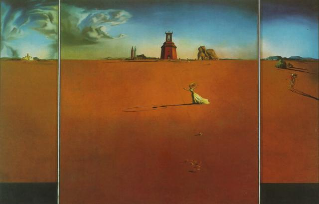 Salvador Dali. Landscape with a girl skipping rope