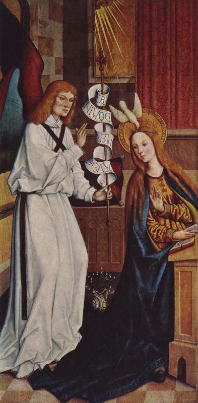 Бартоломеус Цейтблом. Благовещение Марии, Эшахский алтарь, левая створка внутренняя сторона