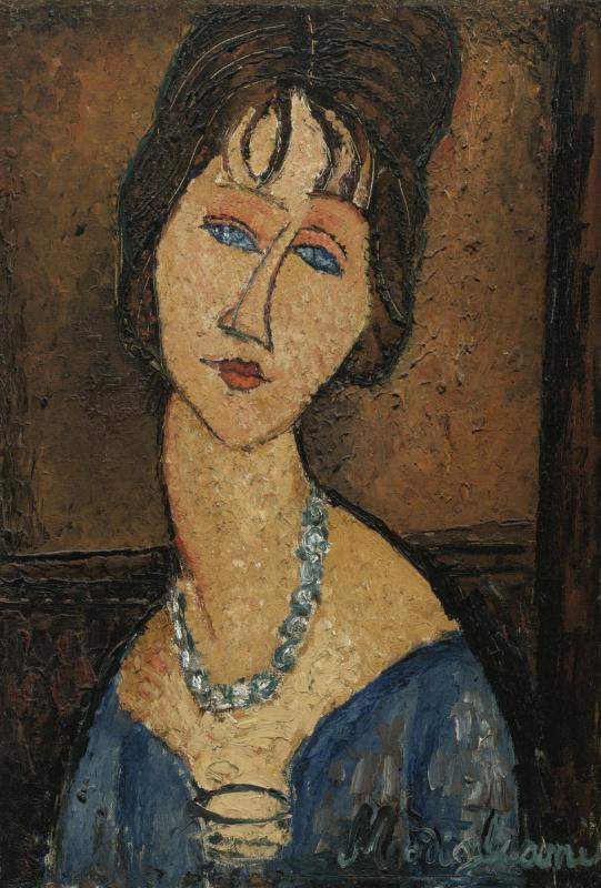 Амедео Модильяни. Портрет Жанны Эбютерн в синем ожерелье