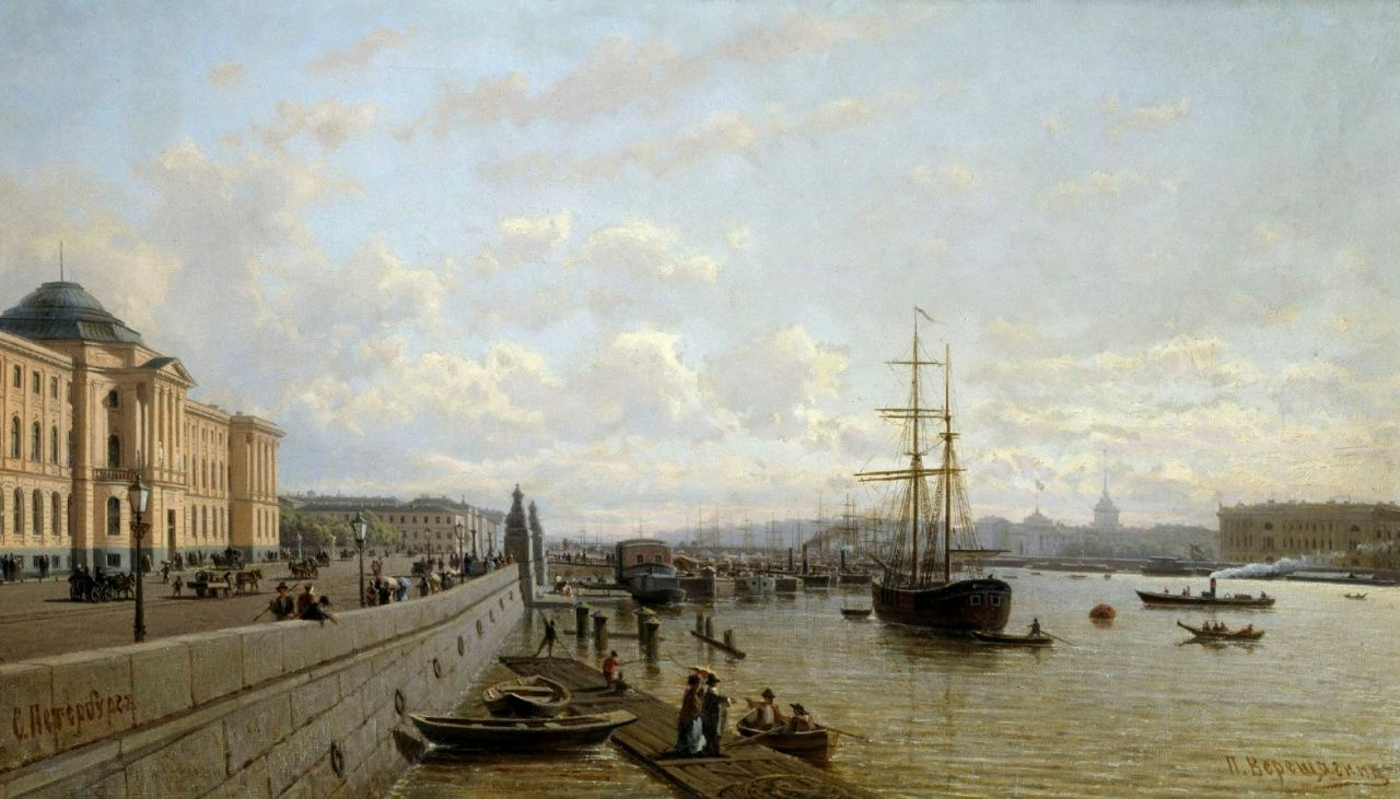 Петр Петрович Верещагин. Вид набережной Невы около Академии художеств в летний день