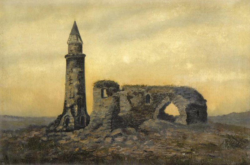 Ivan Ivanovich Shishkin. The ruins of the Khan's tomb and the small minaret in the Bulgars