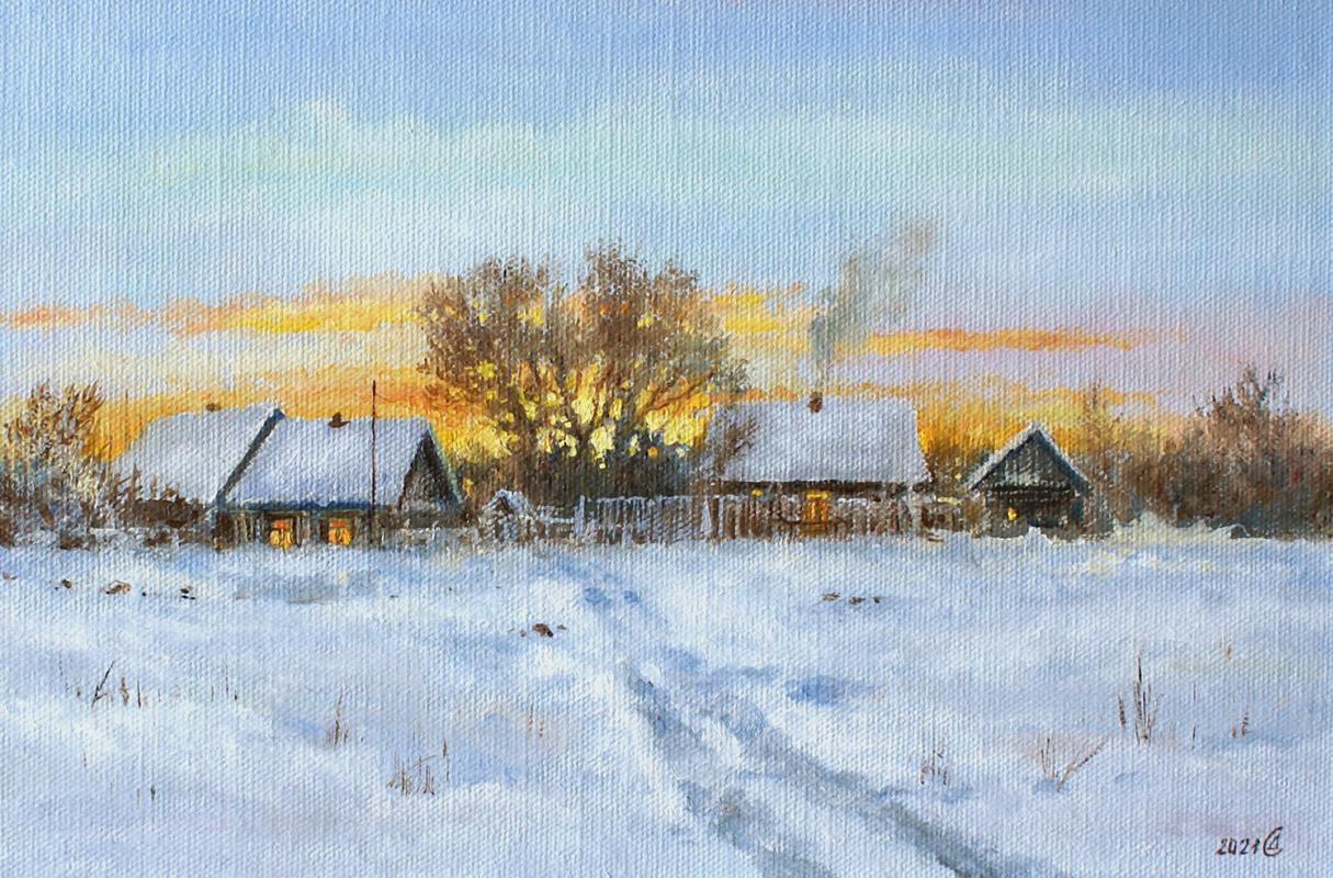 Сергей Владимирович Дорофеев. Winter in the village. Evening