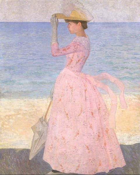 Aristide Mayol. The girl in pink on the beach