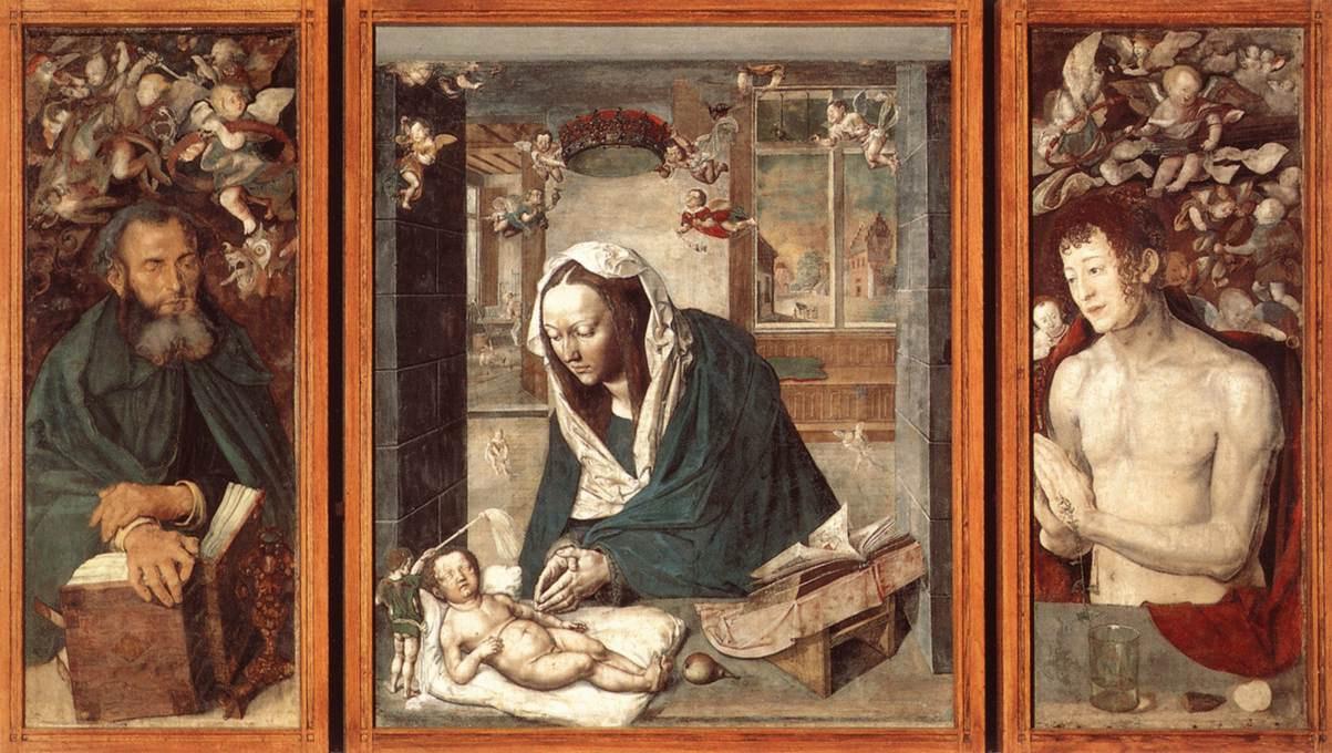 Альбрехт Дюрер. Дрезденский алтарь. Центральная часть: Богородица с Младенцем; левая створка: Святой Антоний; правая: Святой Себастьян