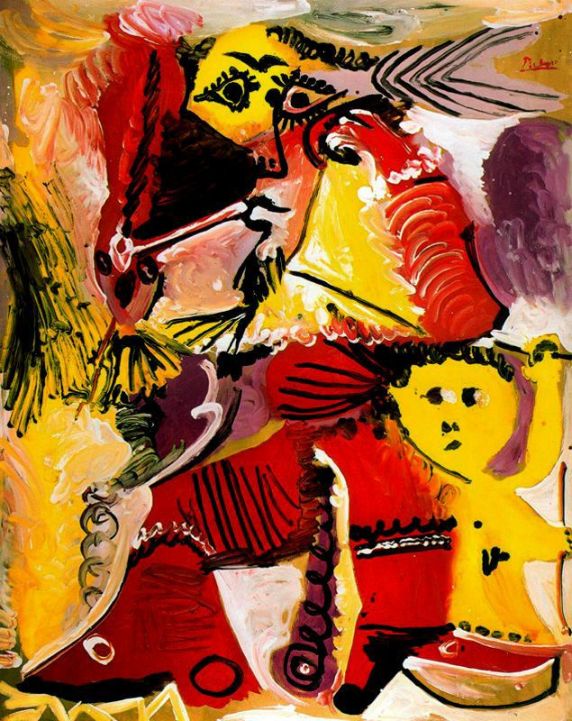 Pablo Picasso. Rembrandtesque figure and Cupid