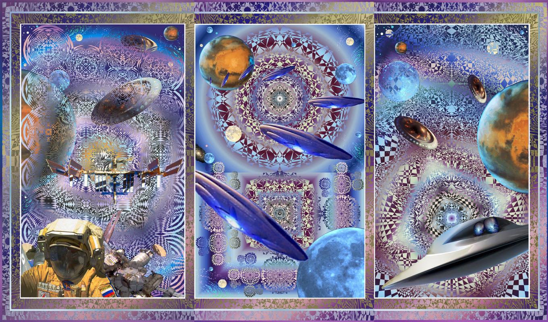 "Юрий Николаевич Сафонов (Yury Safonov). Triptych ""Quanta of Civilizations or moments of Eternity"""