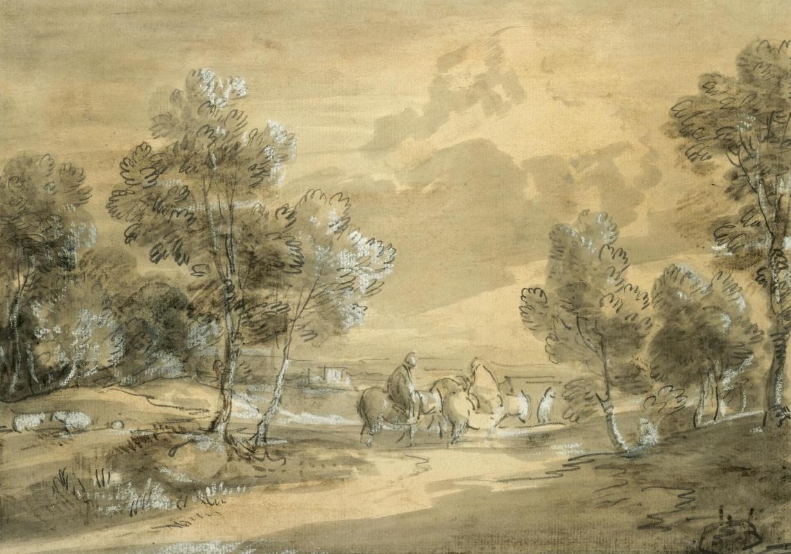 Томас Гейнсборо. Пейзаж с путниками на дороге