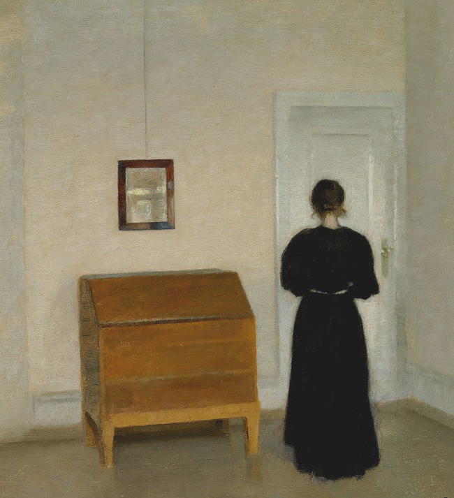 Vilhelm Hammershøi. Ida in the living room interior