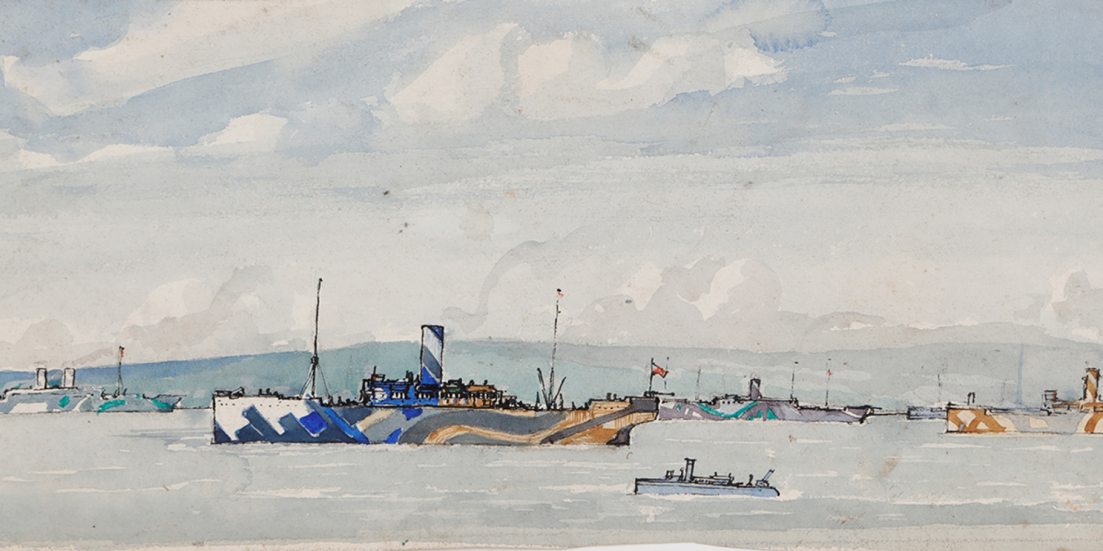 Arthur Lysmer. Detail of the Dazzle ships in the harbor