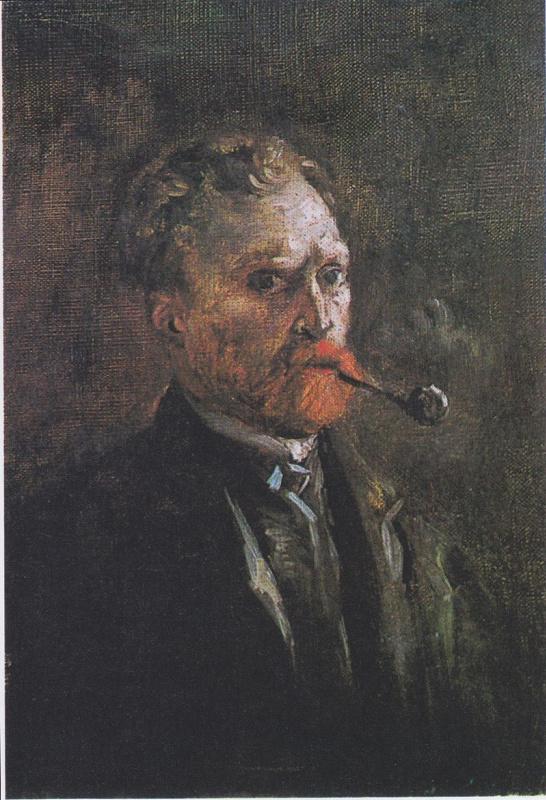 Винсент Ван Гог. Автопортрет с трубкой (трубка справа)