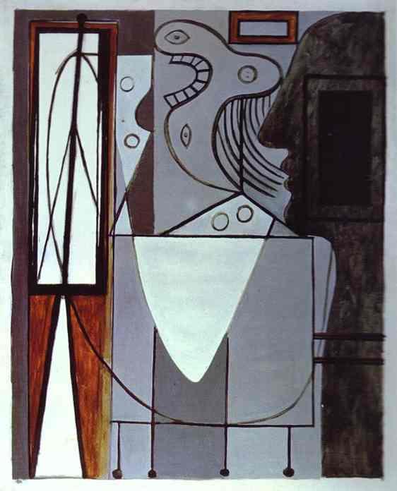 Пабло Пикассо. Силуэт Пикассо и молодая девушка плачет