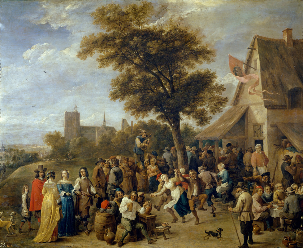 David Teniers the Younger. Rural celebration with the participation of the family of aristocrats