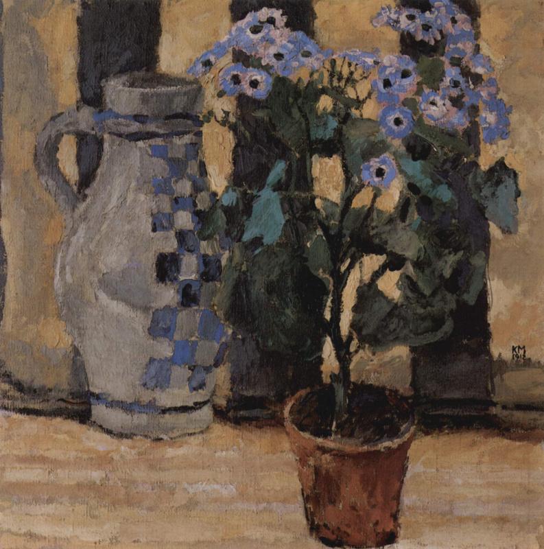 Коломан Мозер. Цветок в горшке и керамический кувшин