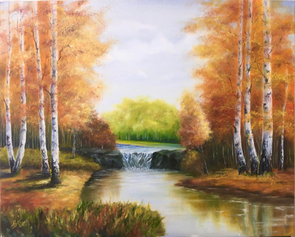 Svetlana Ivanova. Autumn waterfall in a birch grove