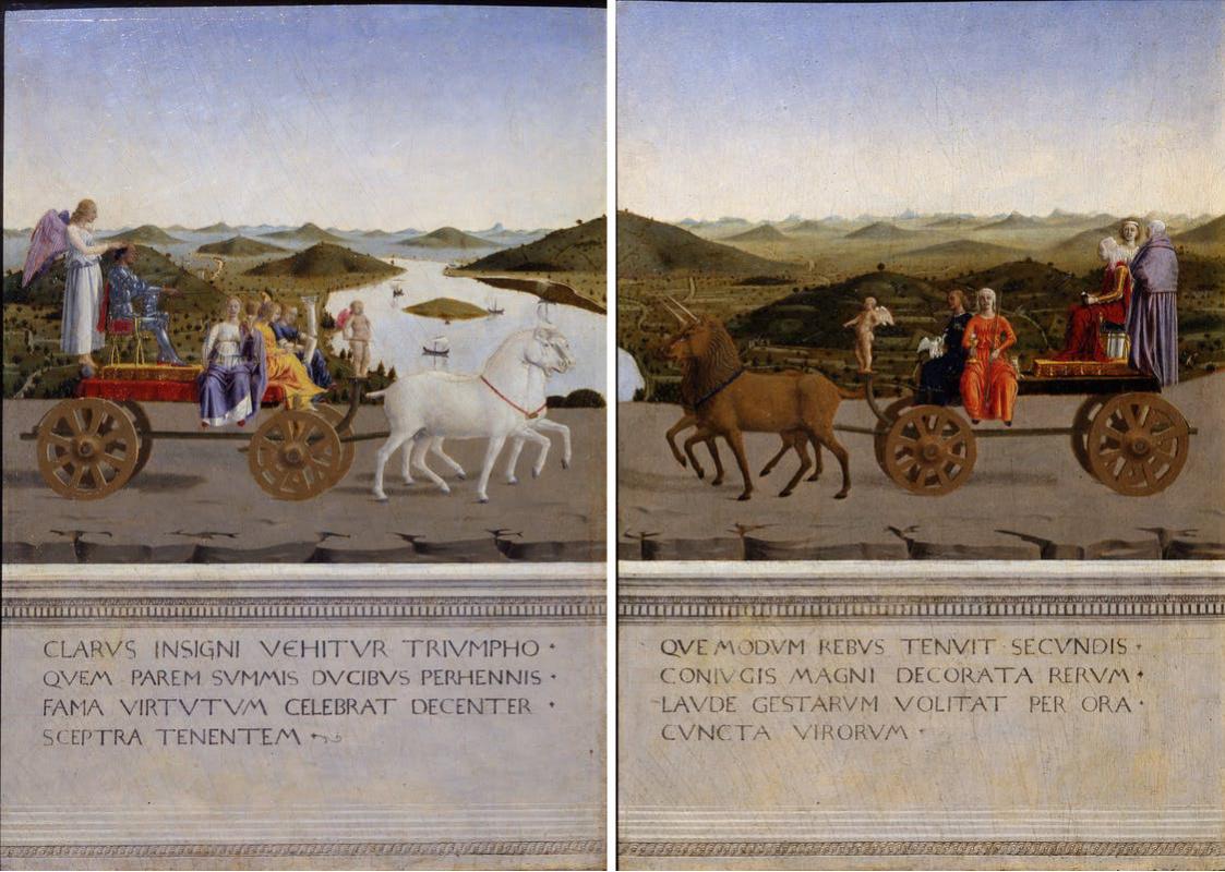 Piero della Francesca. The Duke and Duchess on a triumphal chariot