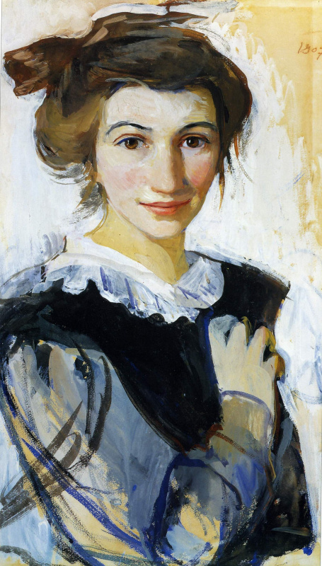 Zinaida Serebryakova. Self-portrait in a black dress with white collar