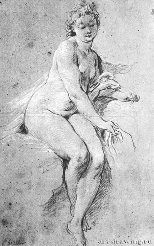 Франсуа Буше. Сидящая обнаженная, рисунок