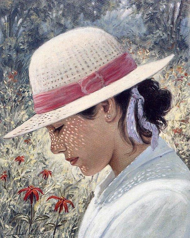 Emmanuelle Garant. Girl in white hat
