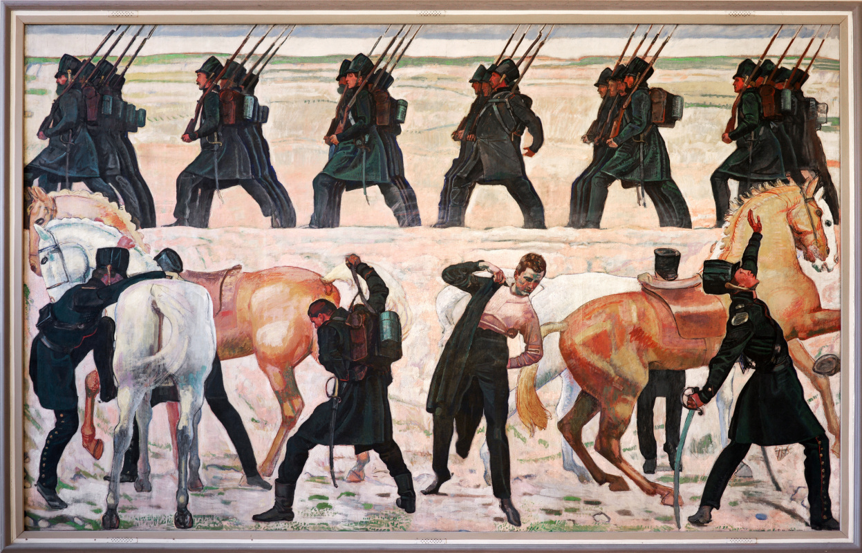 Ferdinand Hodler. The performance of parts of the Jena students during the liberation war in 1813