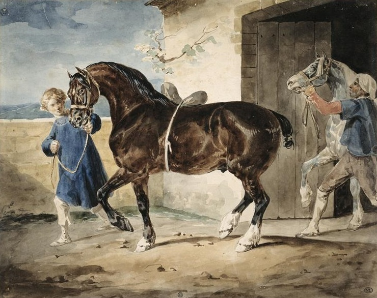 Théodore Géricault. Horses out of the stable
