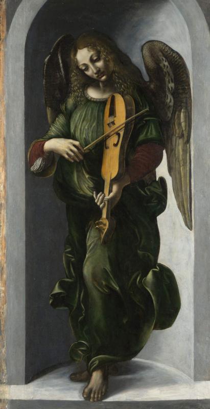 Giovanni Ambrogio de Predis. Angel in green playing the Lira da braccio