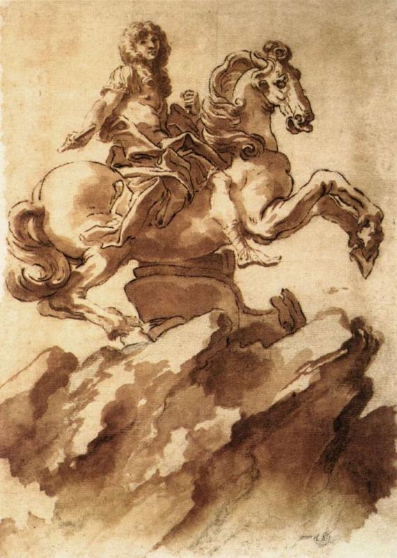 Gian Lorenzo Bernini. A sketch of the equestrian statue of king Louis XIV