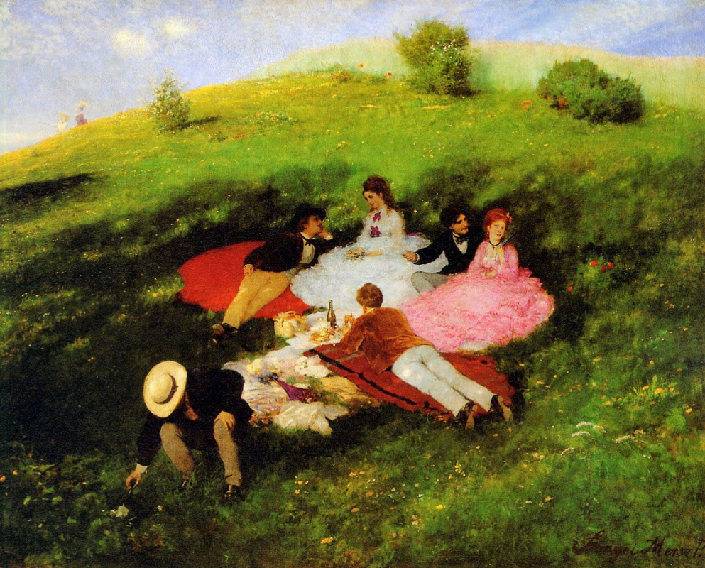 Pál Szinyei Merse. May picnic (Breakfast on the grass)