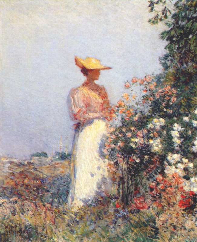 Childe Hassam. The lady in the flower garden