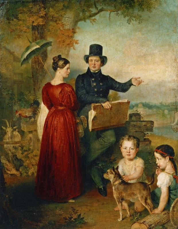 Вильгельм Август Голике. Автопортрет с женой и детьми
