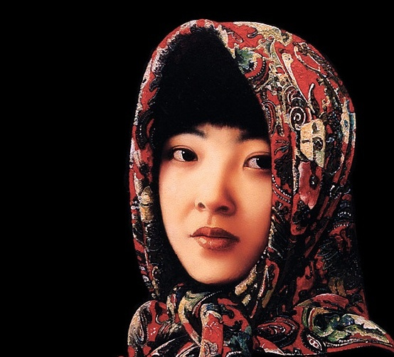 Guo Fang. Portrait of girl in headscarf