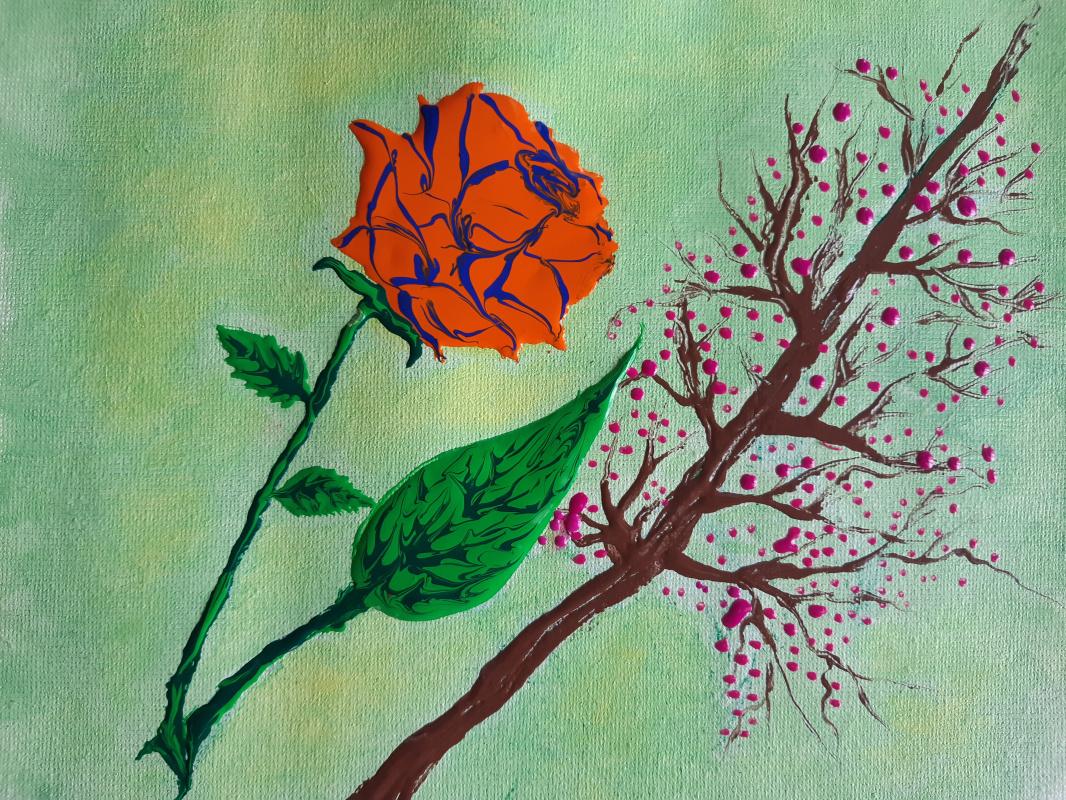 Asya Alibala gizi Hajizadeh. Acrylic drawing