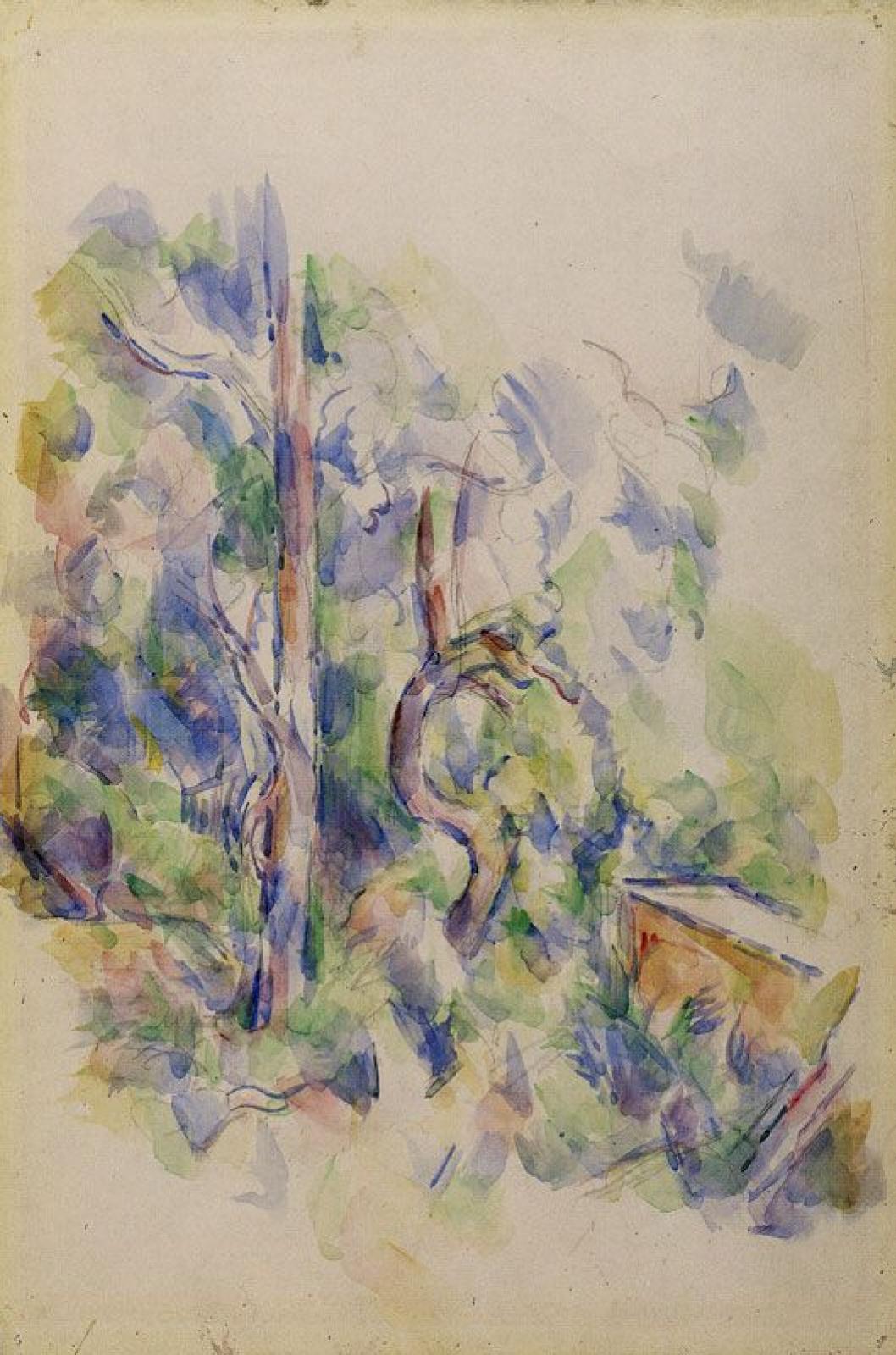 Поль Сезанн. Деревья и цистерна в парке Черного Замка